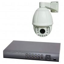 HD TVI Überwachungsset   FullHD PTZ Überwachungskamera PT6E und HD TV 4-Kanal Digitaler Videorekorder